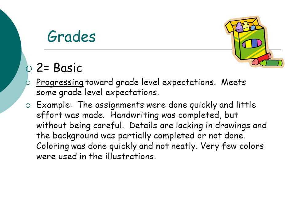 Grades 2= Basic. Progressing toward grade level expectations. Meets some grade level expectations.