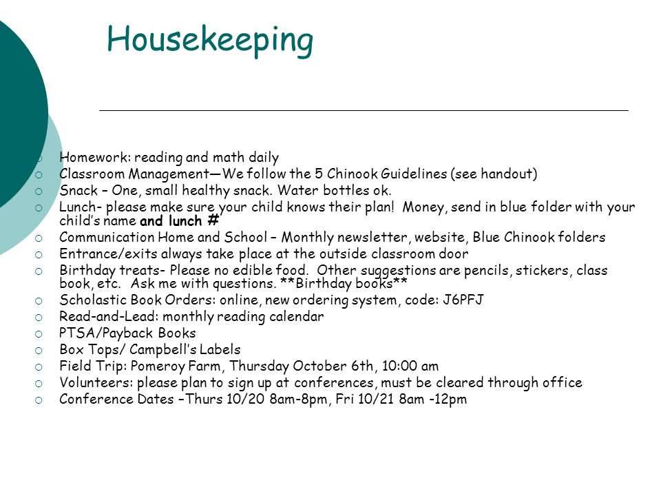 Housekeeping Homework: reading and math daily