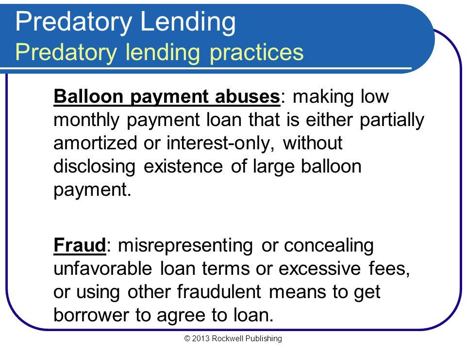 Predatory Lending Predatory lending practices