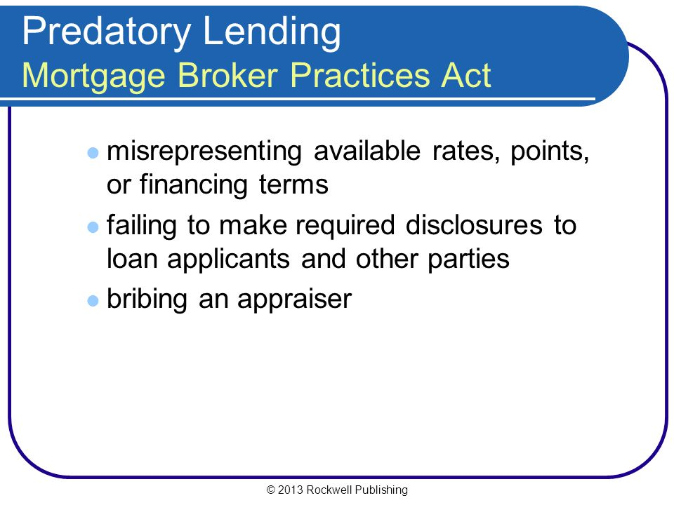 Predatory Lending Mortgage Broker Practices Act