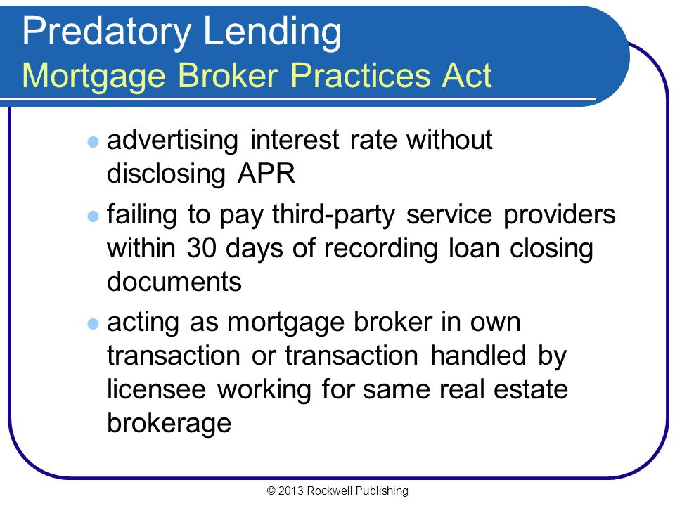 Predatory Lending Mortgage Broker Practices Act