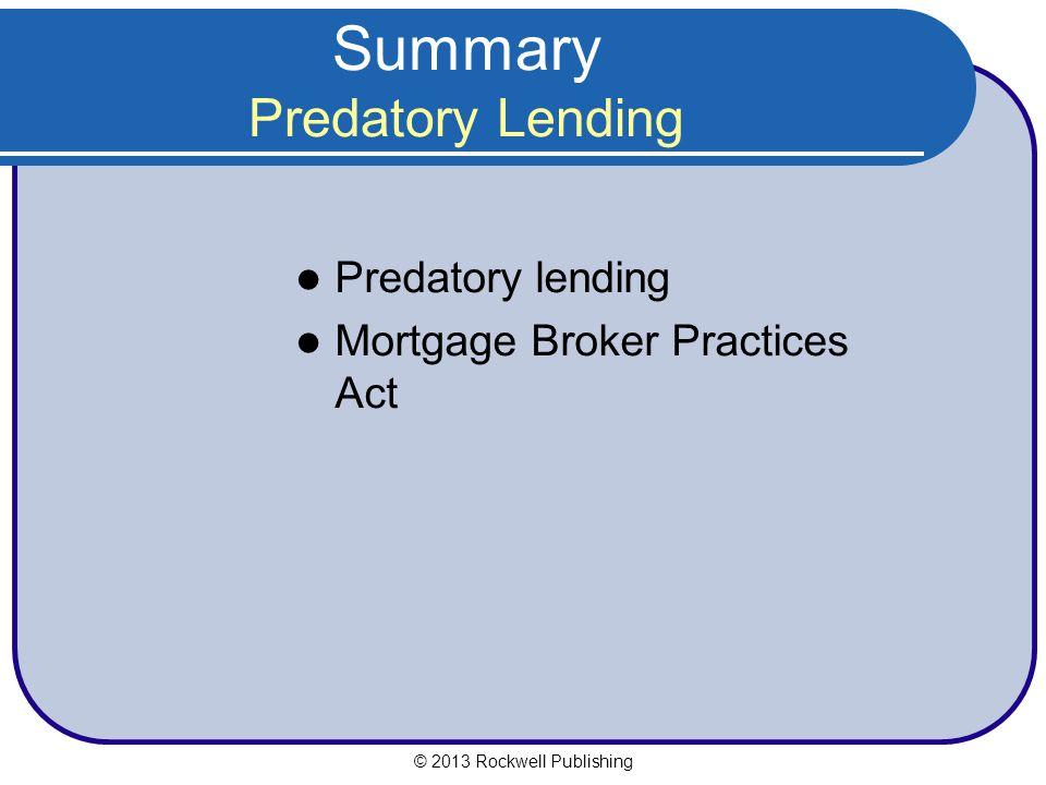 Summary Predatory Lending