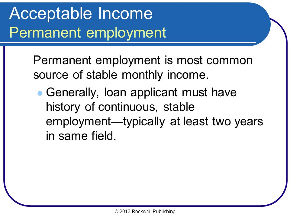 Acceptable Income Permanent employment