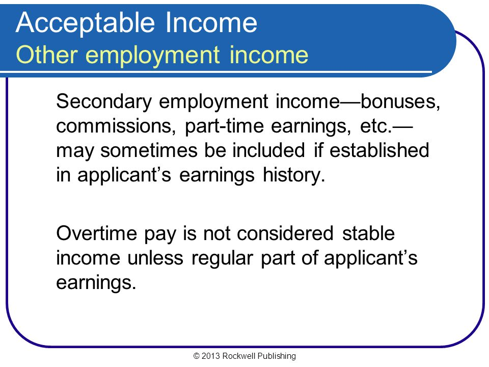 Acceptable Income Other employment income