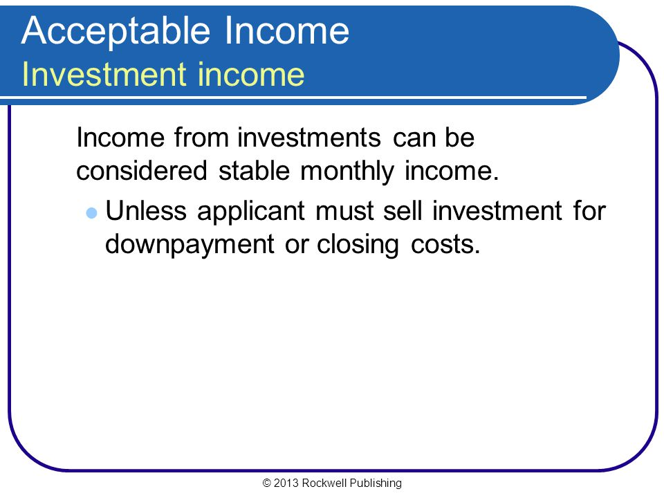 Acceptable Income Investment income