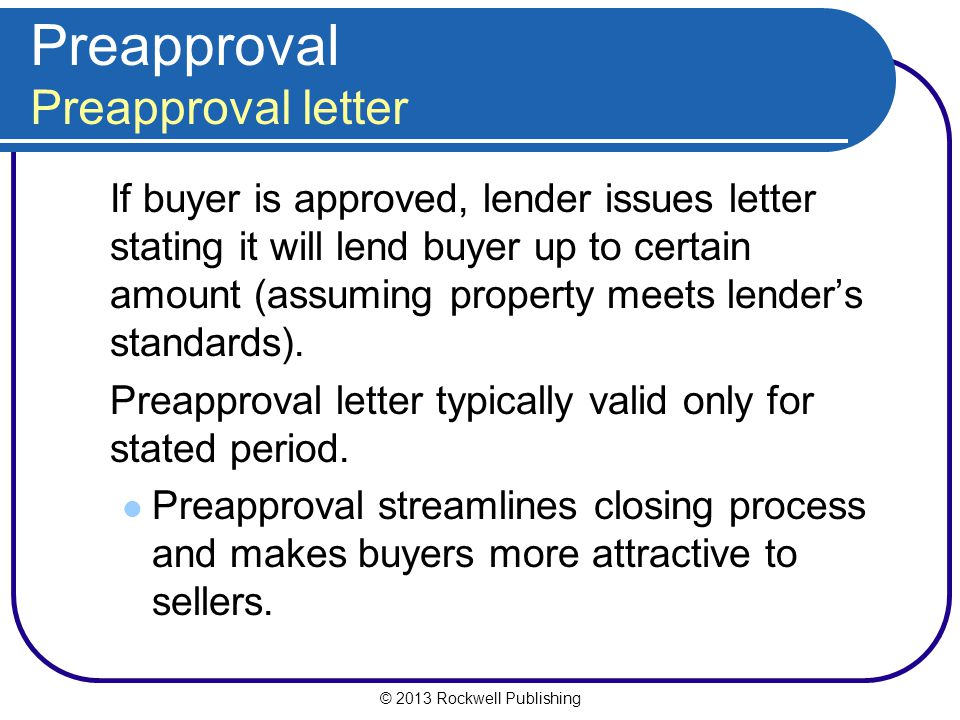 Preapproval Preapproval letter