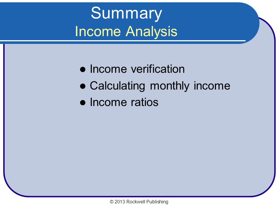 Summary Income Analysis