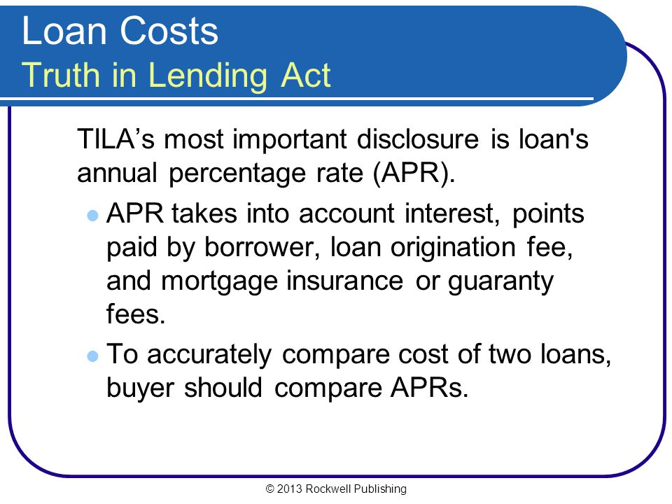 Loan Costs Truth in Lending Act