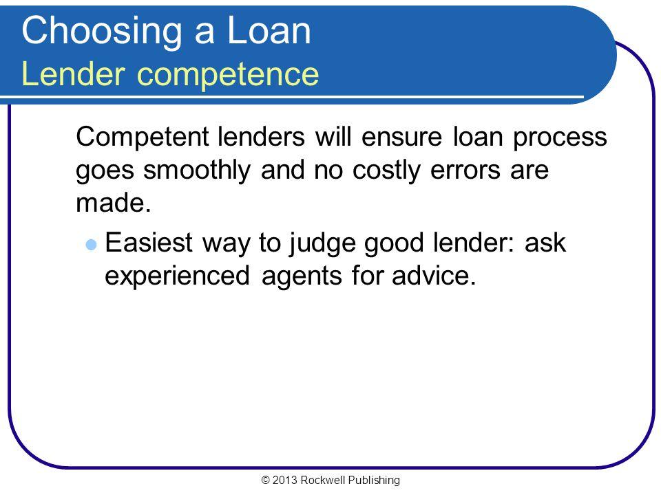 Choosing a Loan Lender competence