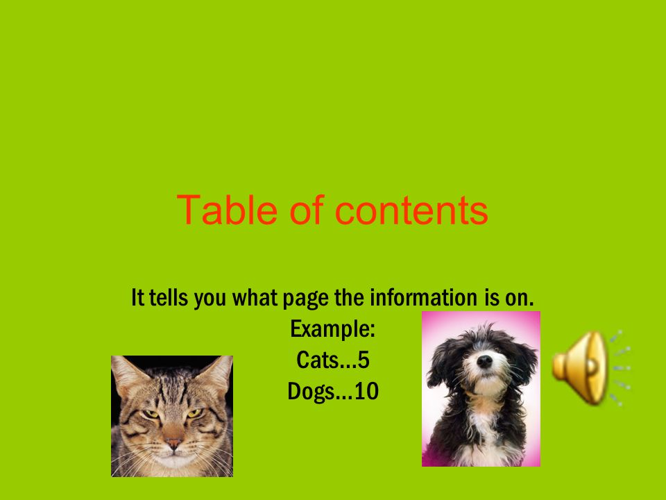 It tells you what page the information is on. Example: Cats…5 Dogs…10