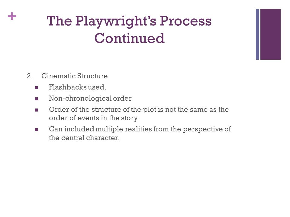 The Playwright's Process Continued