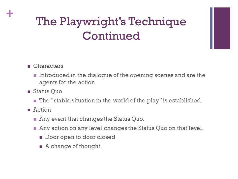 The Playwright's Technique Continued