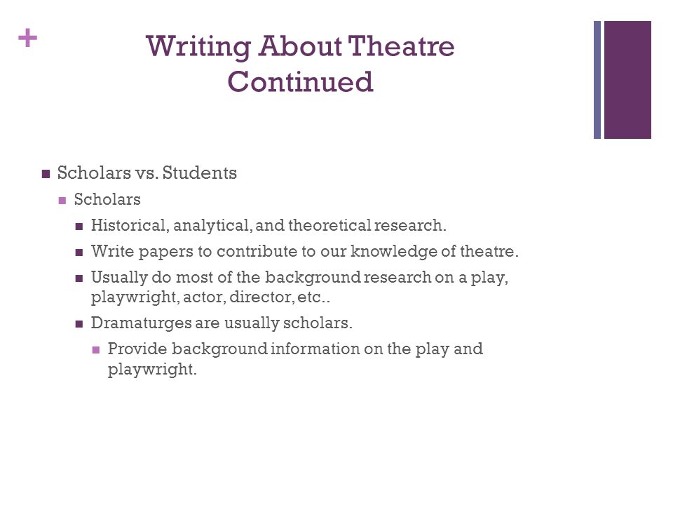 Writing About Theatre Continued
