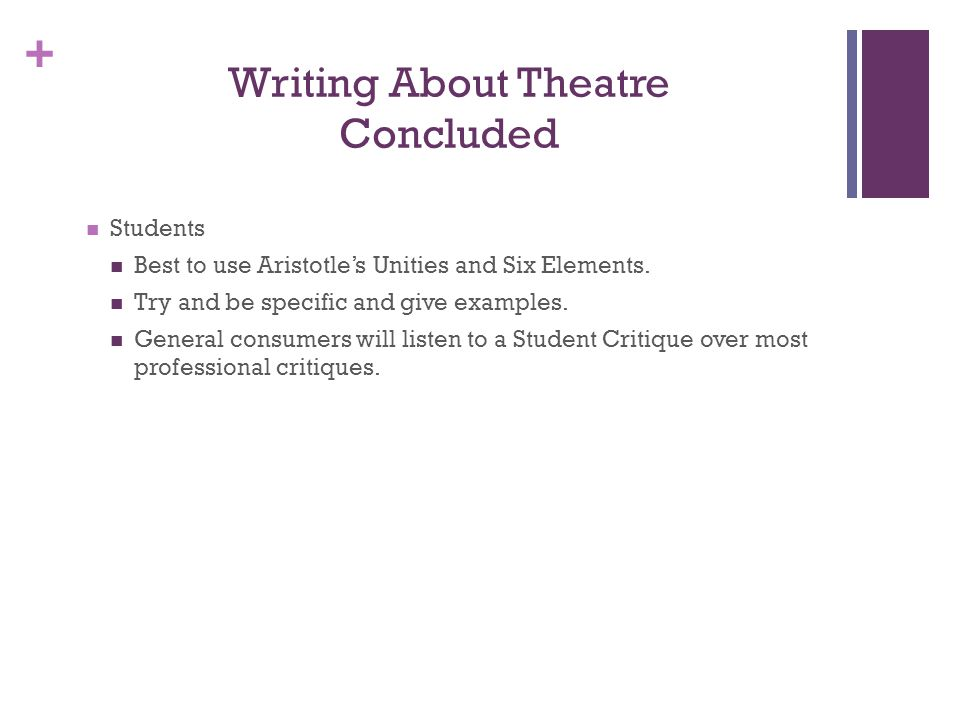Writing About Theatre Concluded