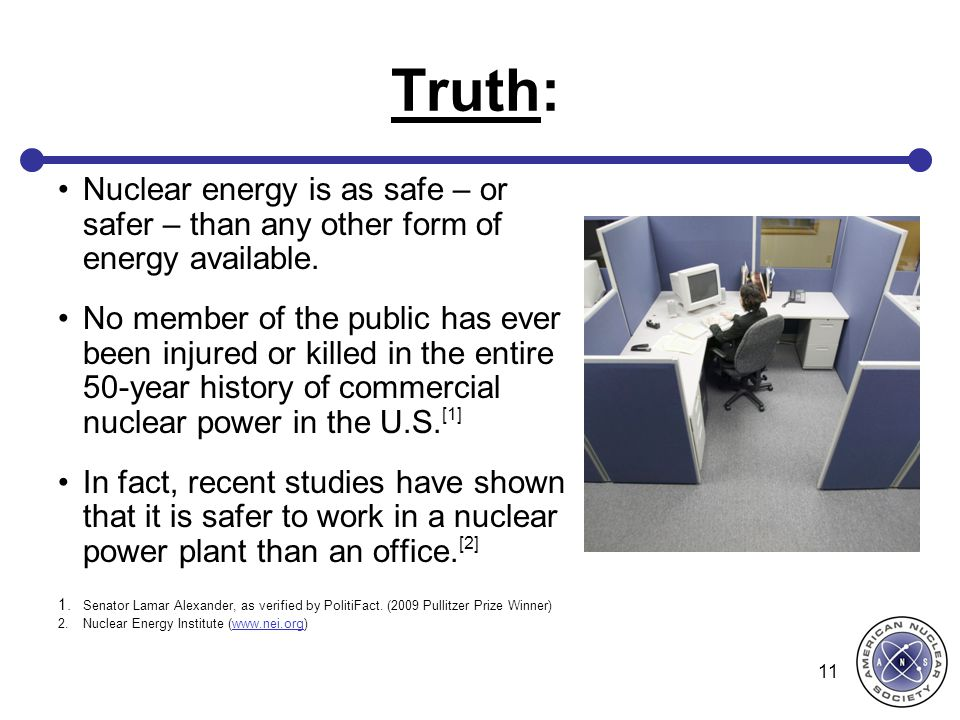 Truth: Nuclear energy is as safe – or safer – than any other form of energy available.