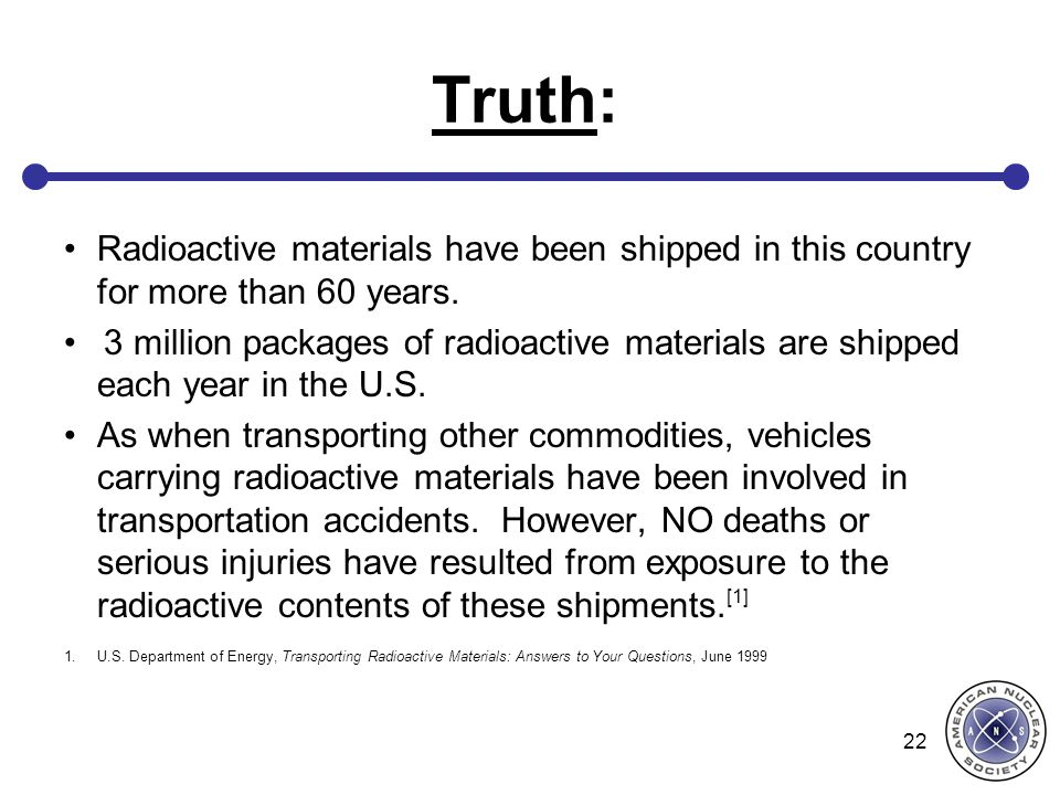 Truth: Radioactive materials have been shipped in this country for more than 60 years.