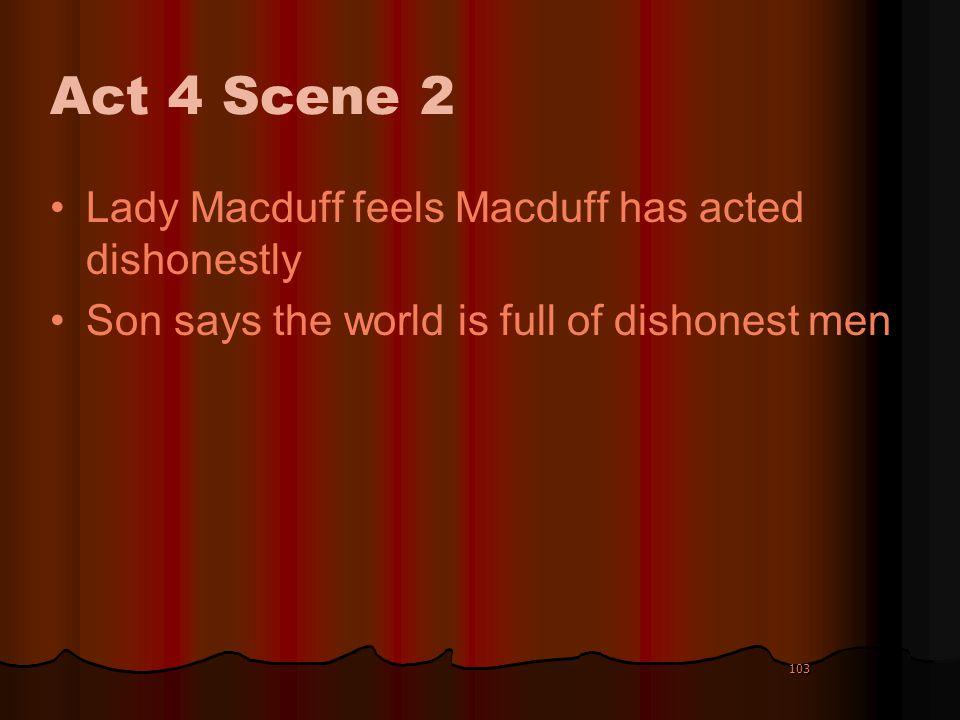 Act 4 Scene 2 Lady Macduff feels Macduff has acted dishonestly