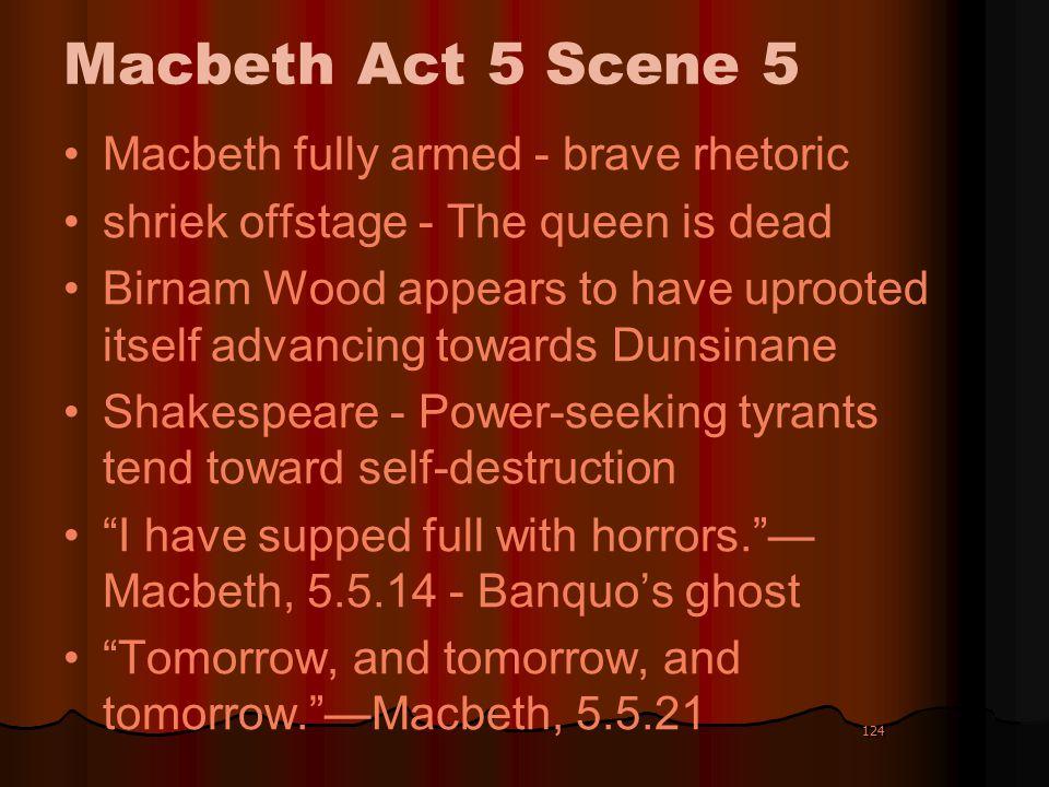 Macbeth Act 5 Scene 5 Macbeth fully armed - brave rhetoric