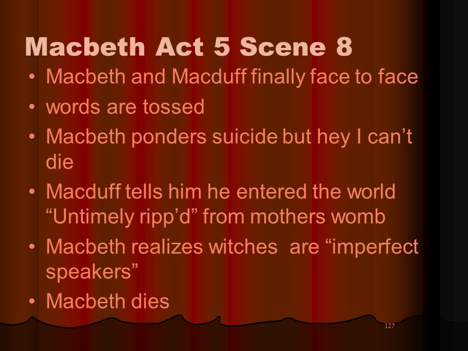 Macbeth Act 5 Scene 8 Macbeth and Macduff finally face to face