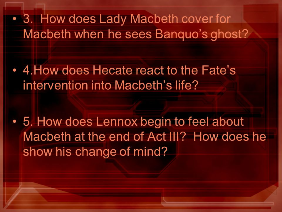 3. How does Lady Macbeth cover for Macbeth when he sees Banquo's ghost