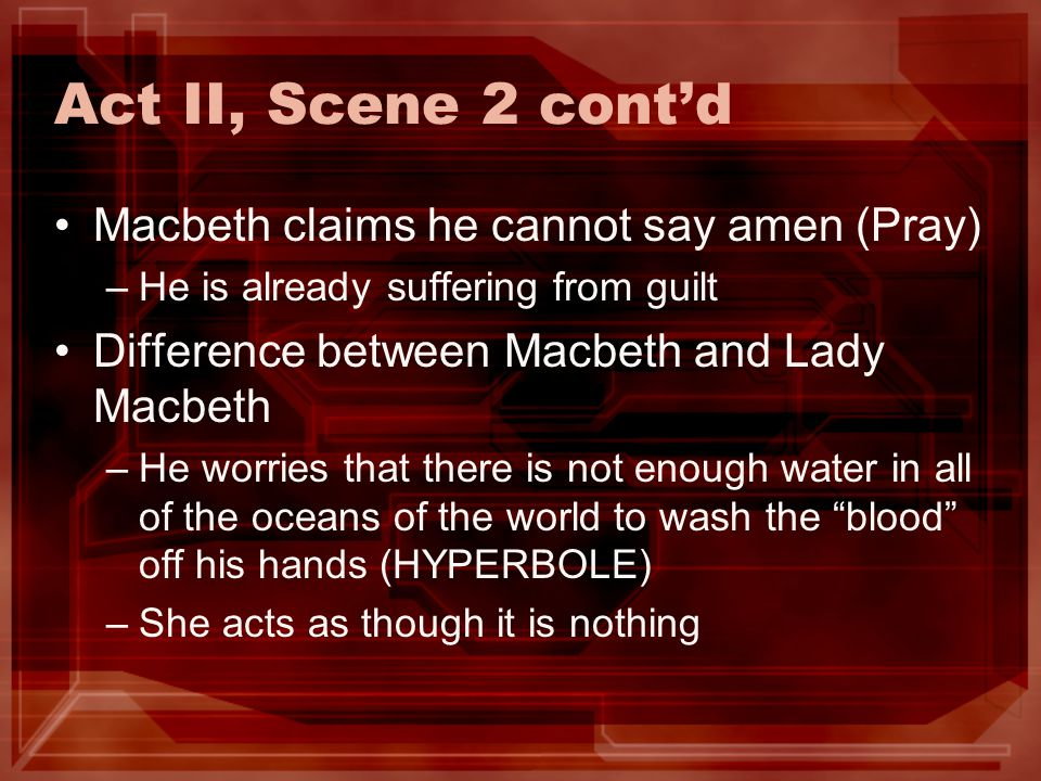 Act II, Scene 2 cont'd Macbeth claims he cannot say amen (Pray)