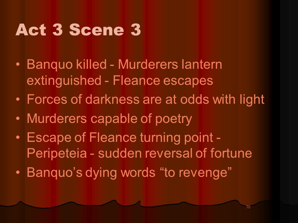 Act 3 Scene 3 Banquo killed - Murderers lantern extinguished - Fleance escapes. Forces of darkness are at odds with light.
