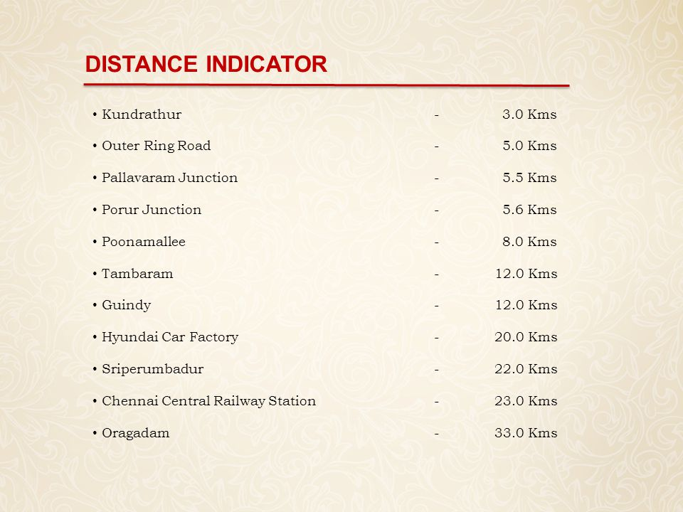 DISTANCE INDICATOR Kundrathur - 3.0 Kms Outer Ring Road - 5.0 Kms