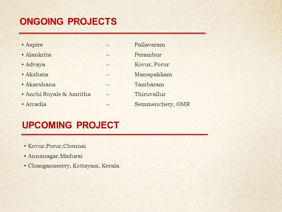 ONGOING PROJECTS UPCOMING PROJECT Aspire – Pallavaram