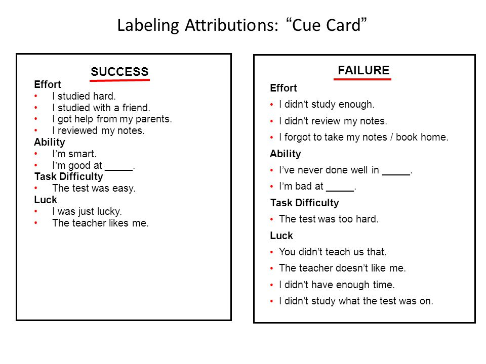 Labeling Attributions: Cue Card