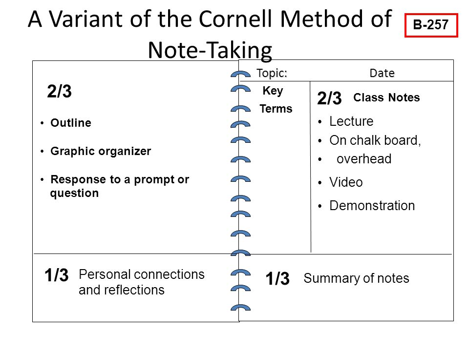 A Variant of the Cornell Method of Note-Taking