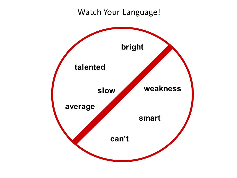 Watch Your Language! bright talented weakness slow average smart can't