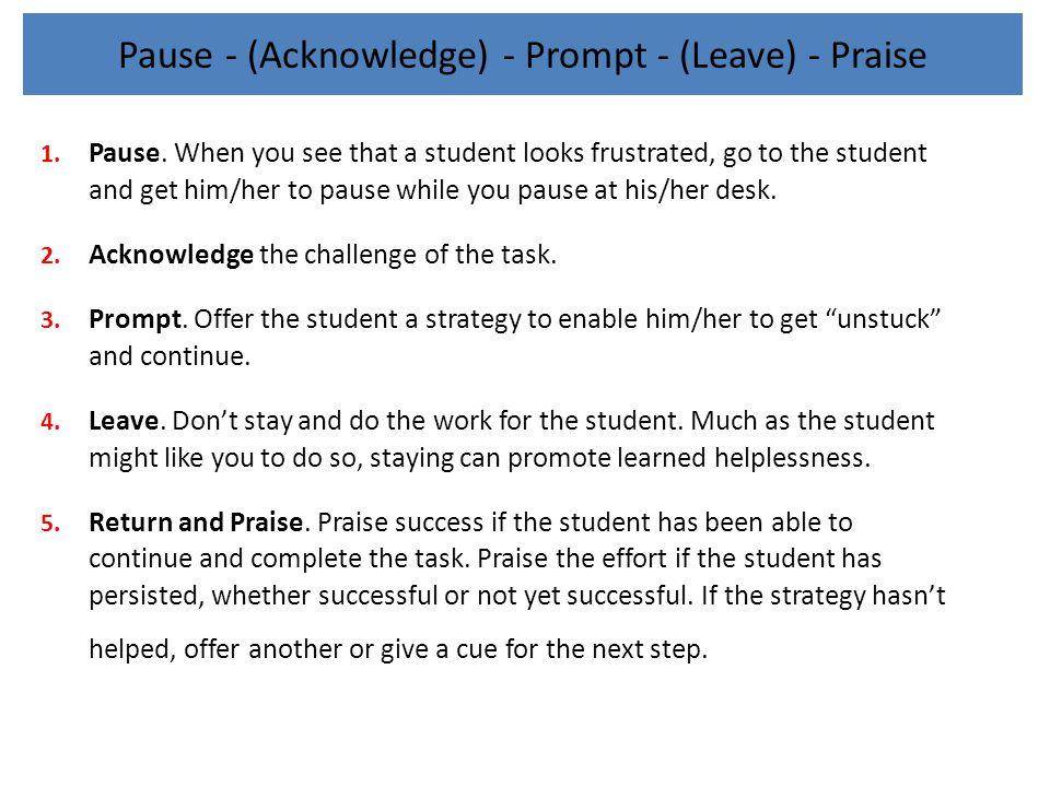 Pause - (Acknowledge) - Prompt - (Leave) - Praise