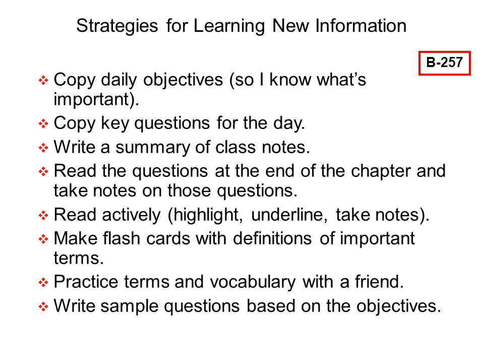 Strategies for Learning New Information