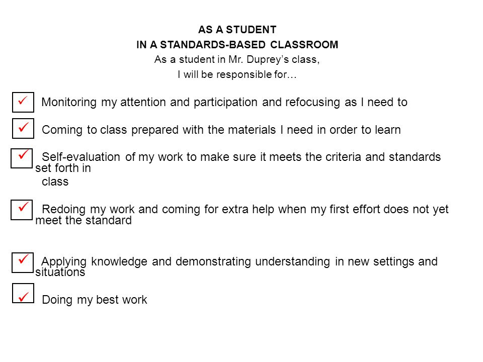IN A STANDARDS-BASED CLASSROOM