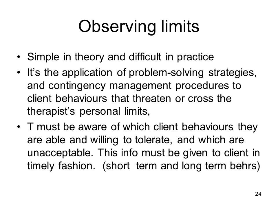 Observing limits Simple in theory and difficult in practice