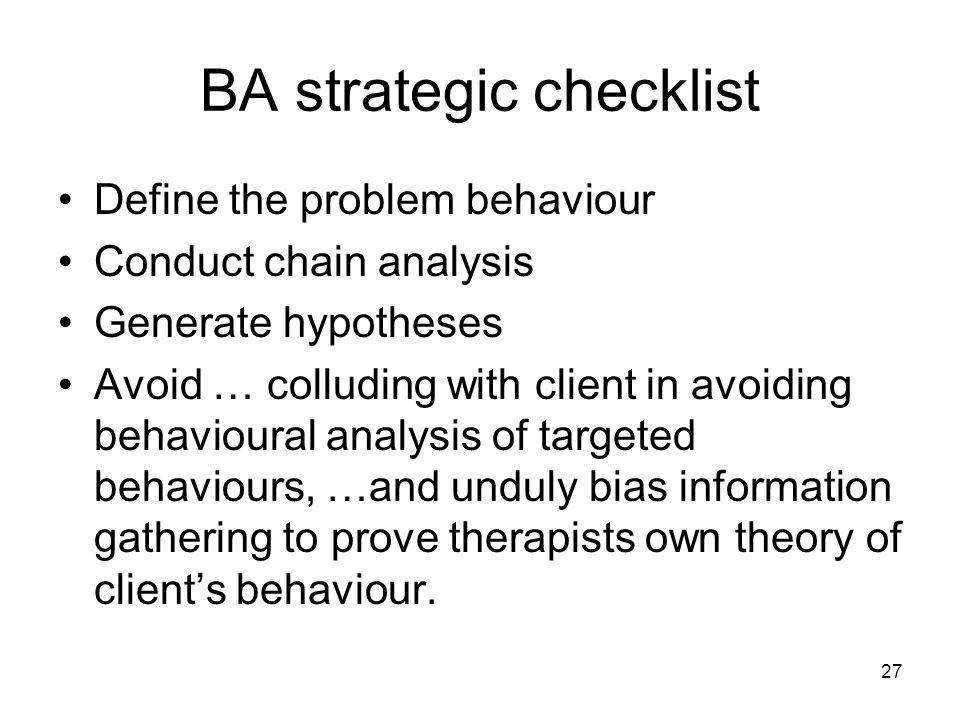BA strategic checklist