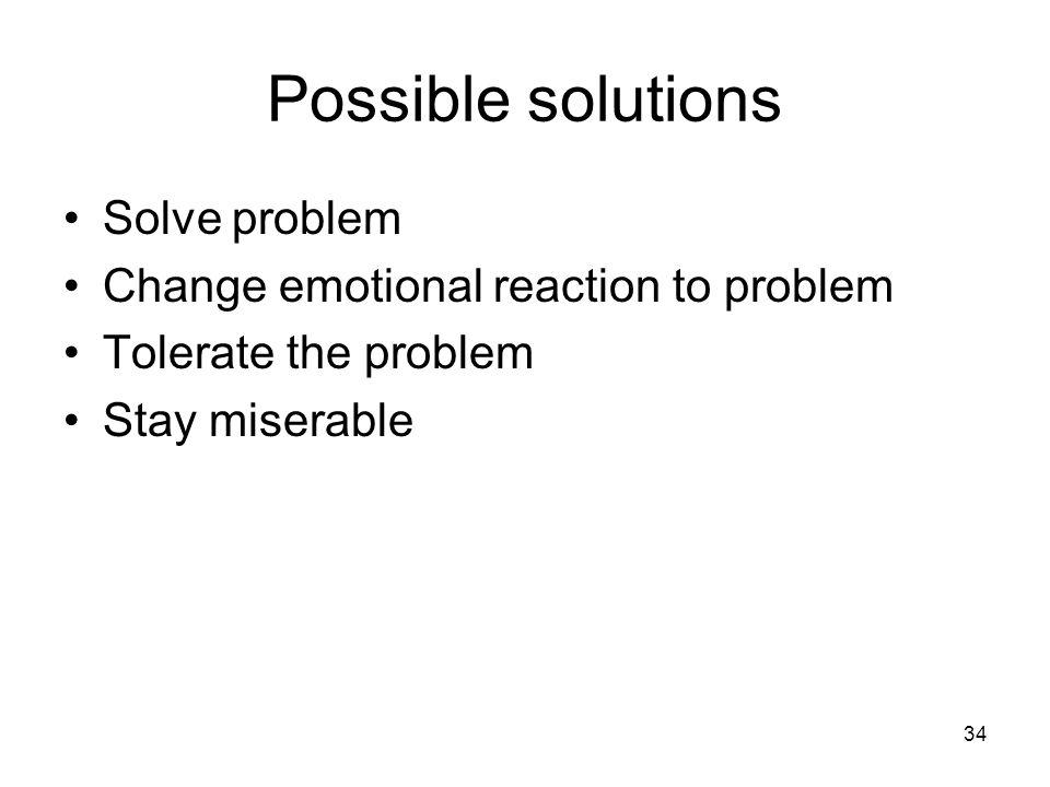 Possible solutions Solve problem Change emotional reaction to problem