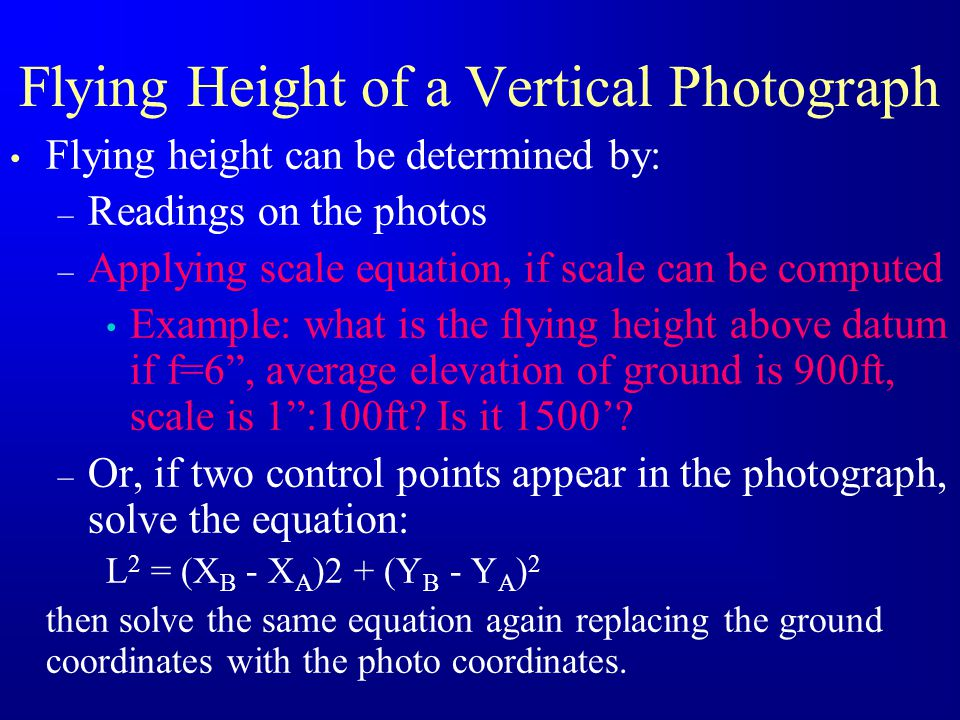 Flying Height of a Vertical Photograph