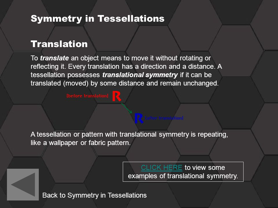 CLICK HERE to view some examples of translational symmetry.