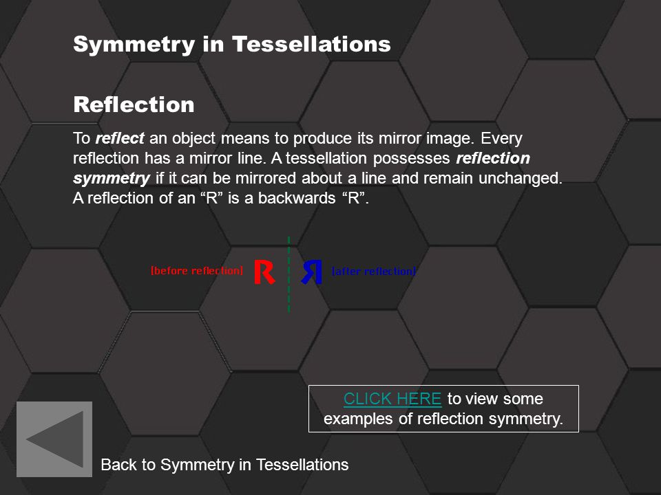 CLICK HERE to view some examples of reflection symmetry.