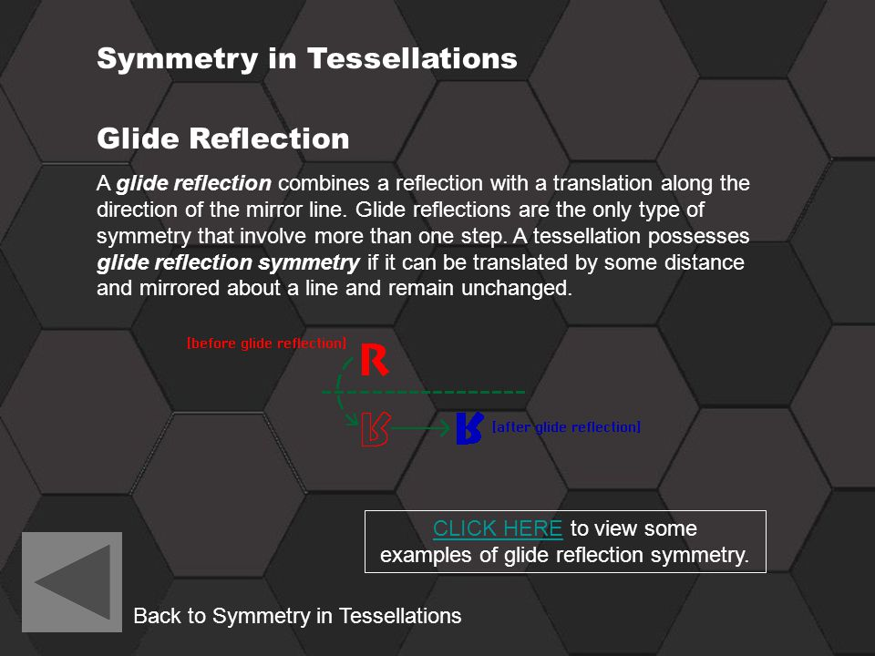 CLICK HERE to view some examples of glide reflection symmetry.