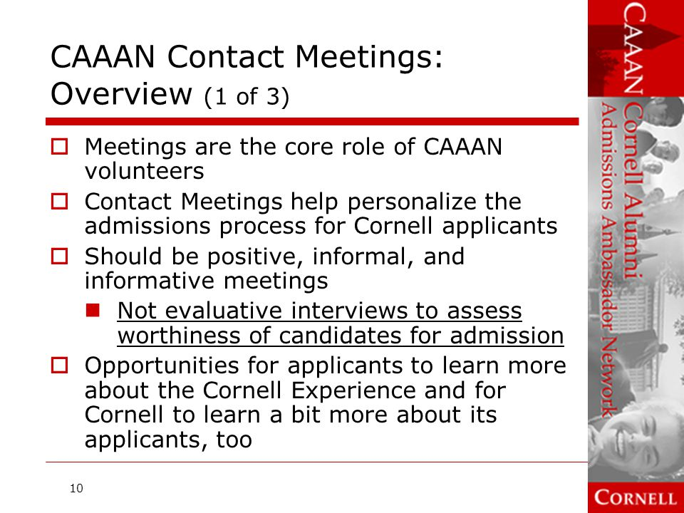 CAAAN Contact Meetings: Overview (1 of 3)