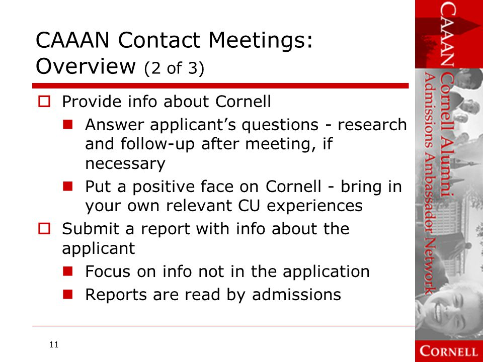 CAAAN Contact Meetings: Overview (2 of 3)