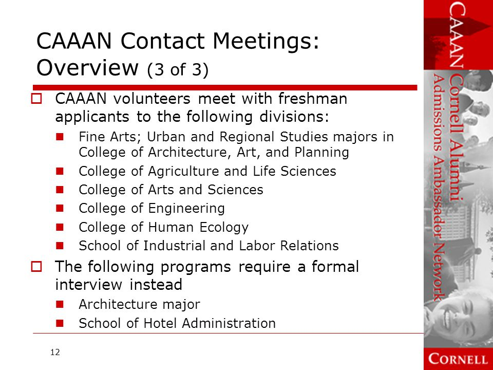 CAAAN Contact Meetings: Overview (3 of 3)