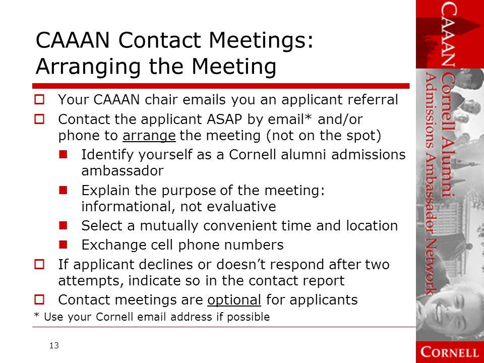 CAAAN Contact Meetings: Arranging the Meeting