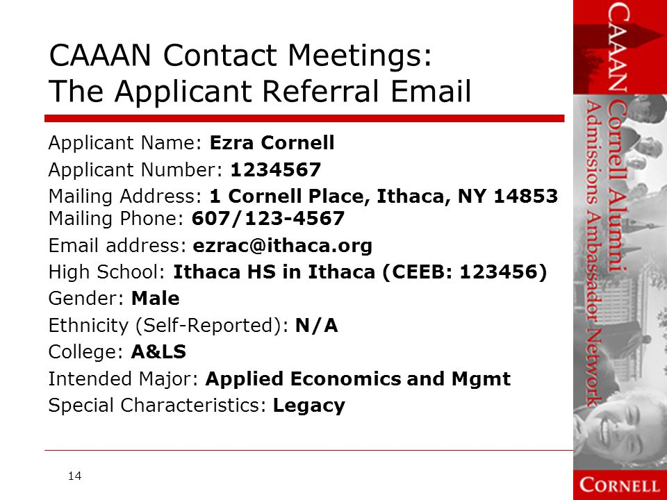CAAAN Contact Meetings: The Applicant Referral Email