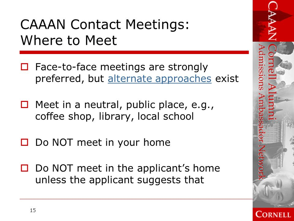 CAAAN Contact Meetings: Where to Meet