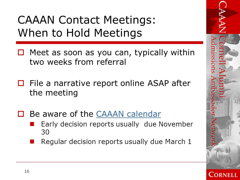 CAAAN Contact Meetings: When to Hold Meetings
