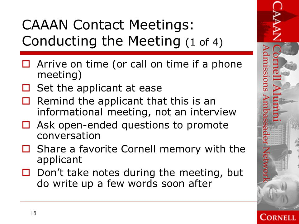 CAAAN Contact Meetings: Conducting the Meeting (1 of 4)