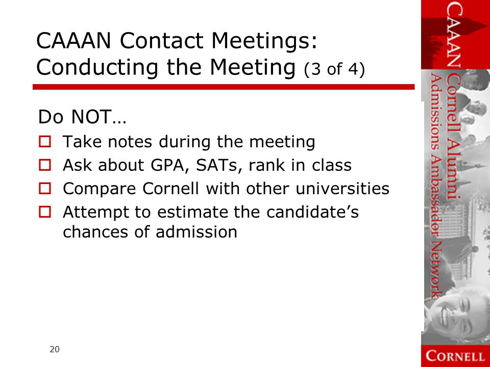 CAAAN Contact Meetings: Conducting the Meeting (3 of 4)